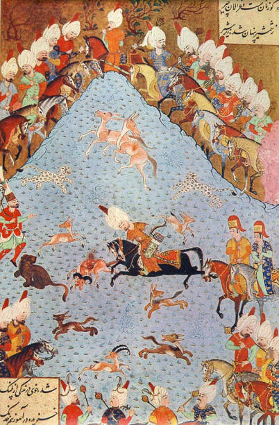 Miniature of Sultan Soliman hunting